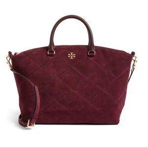 TORY BURCH Frida Stitched Suede Satchel Bag